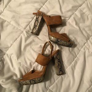 Shoes - Snakeskin suede like platform heels